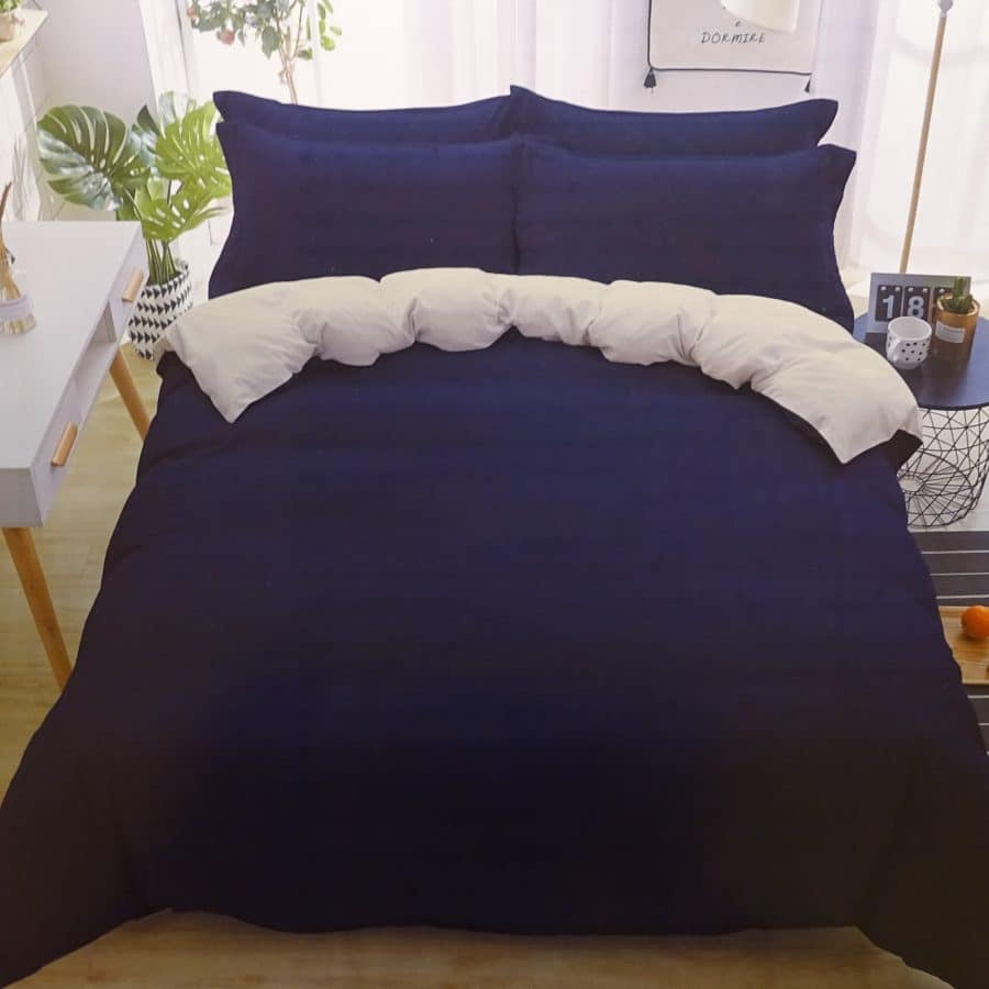 3 részes pamut ágynemű kék és fehér színben