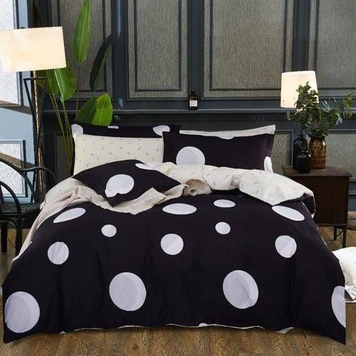 fekete fehér pöttyös pamut ágyneműhuzat
