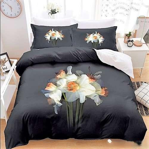 Sötét alapon fehér virág 3d ágyneműhuzat 7 részes