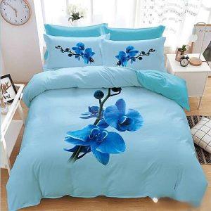 kék virággal 3d ágyneműhuzat 7 részes