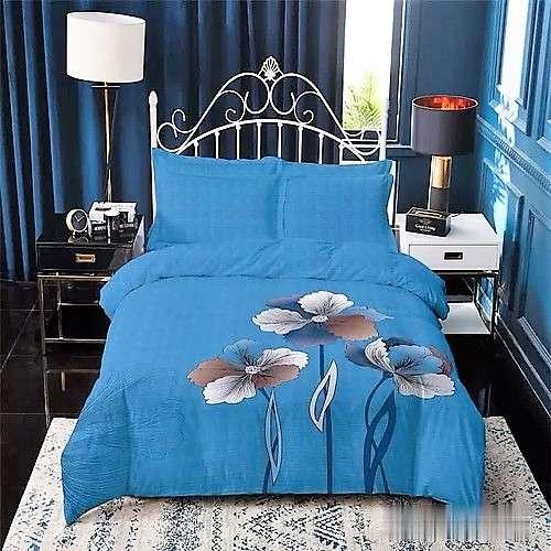 Kék színben virág minta pamut ágyneműhuzat