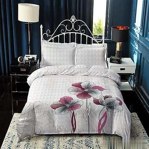 pamut ágyneműhuzat fehér kockás rózsaszín virágokkal
