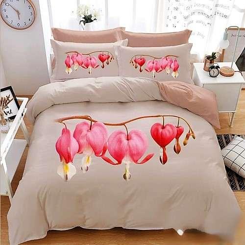 krém alapon rózsaszín virág 3d ágyneműhuzat 7 részes