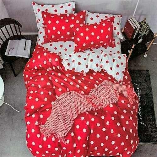pamut 6 és 7 részes ágyneműhuzat piros pöttyös