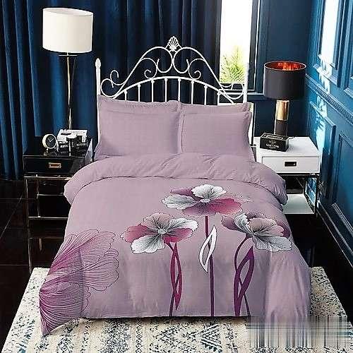 Mályva színben színes virágok pamut ágyneműhuzat