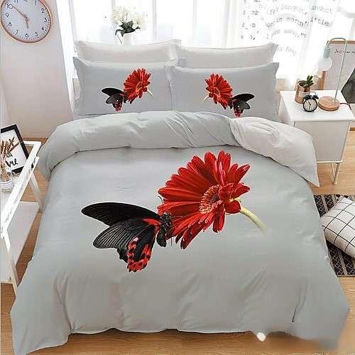 fehér piros virág pillangóval 3d ágyneműhuzat 7 részes