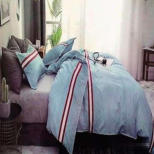 Türkiz alapon fehér csíkos pamut ágyneműhuzat