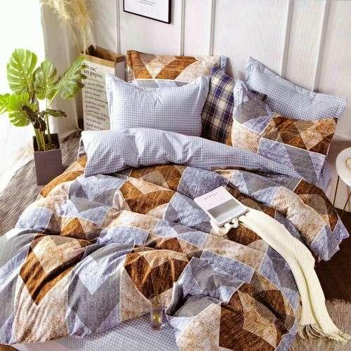 Pamut ágyneműhuzát kék színben barna mintás