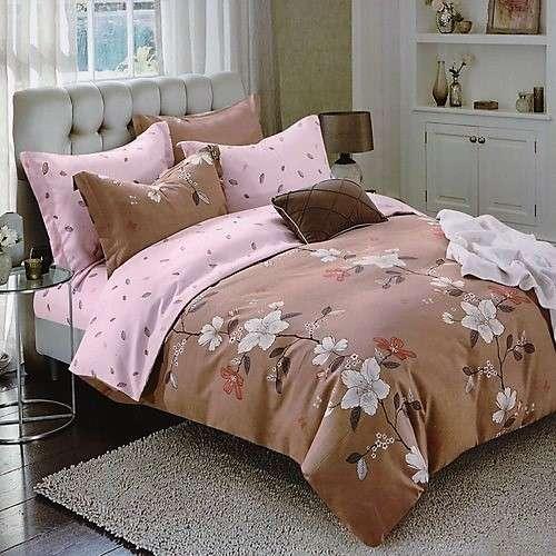 bézs színben virág mintás pamut ágyneműhuzat
