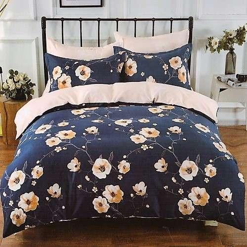 kék színben bézs virágos pamut ágyneműhuzat