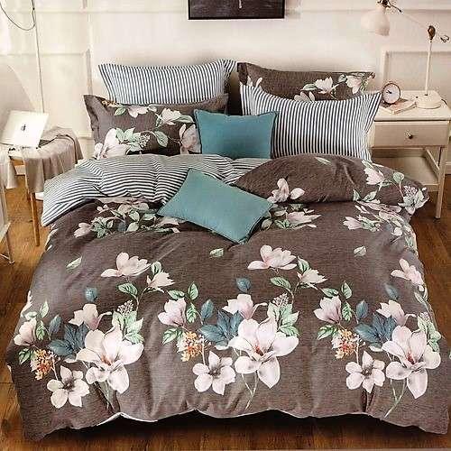 szürke színben színes virágos pamut ágyneműhuzat