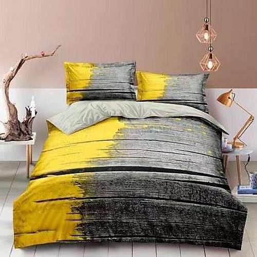 pamut ágyneműhuzat szürke színben sárga szín