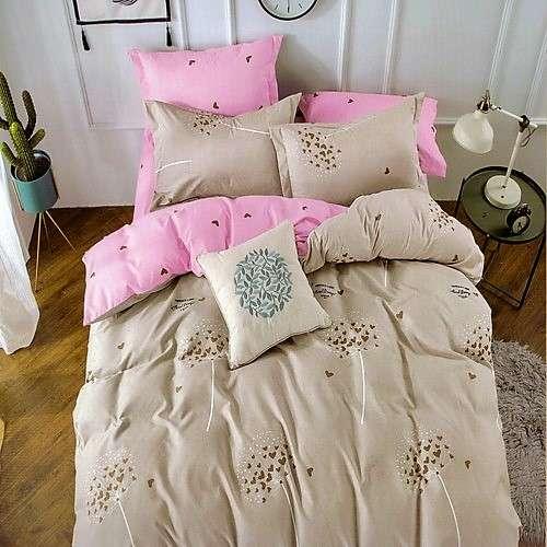 pamut ágyneműhuzat krém és rózsaszín szivecskékkel
