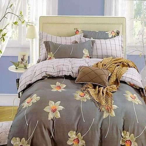 pamut ágyneműhuzat szürke szín kockás virágos