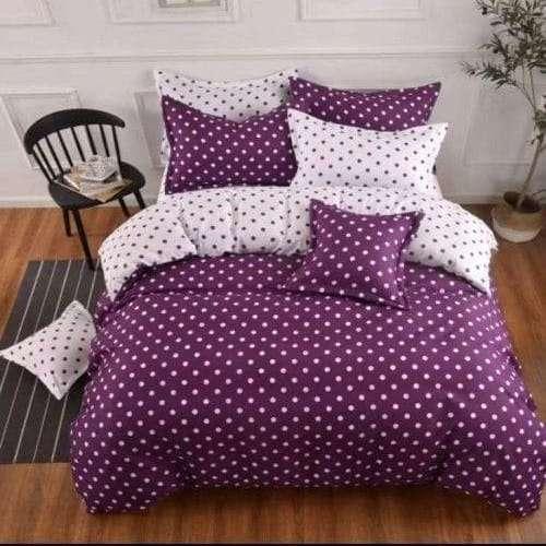 pamut ágynemű 6 részes lila pöttyös