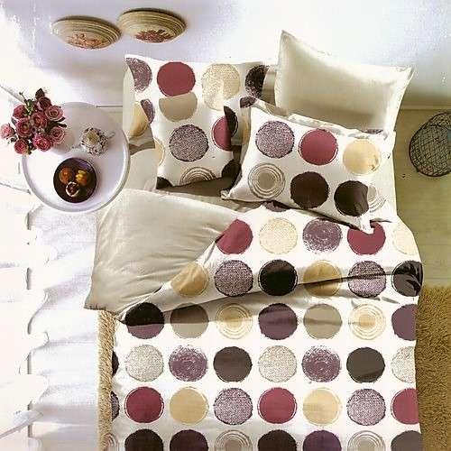 krém színben színes pöttyök pamut ágyneműhuzat